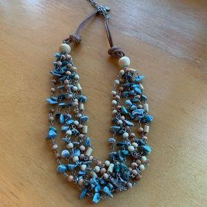 Jewelry - 5/$25 turquoise color stone and wood necklace